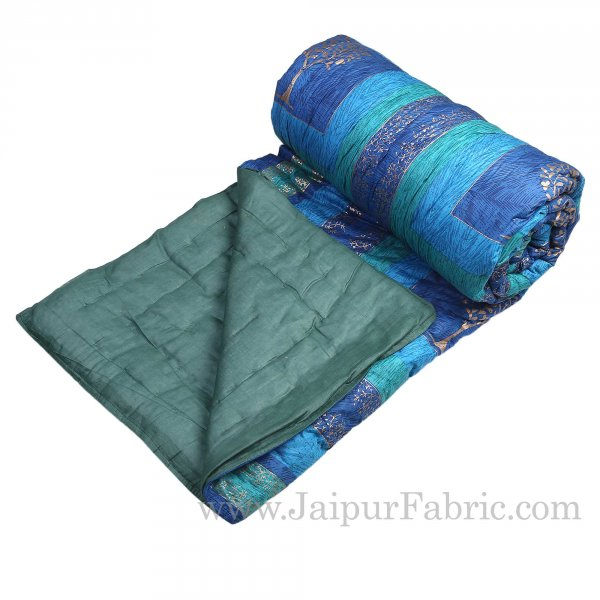 Firozi And Blue Golden Jaipuri  Tree  print Double Bed Quilt