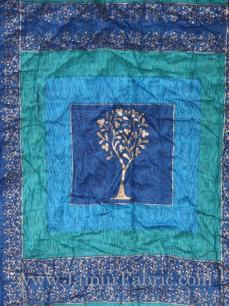 Firozi And Blue Golden Jaipuri  Tree  print Single Bed Quilt