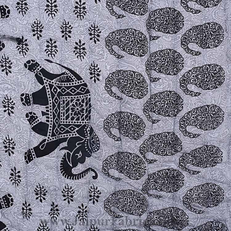 Jaipuri Quilt Elephant Print 200Gsm Fine Cotton Double Bed Rajai