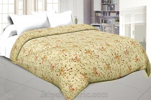 Muslin Cotton Double bed Reversible mulmul cream Dohar in seamless floral print