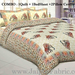 Jaipur Razai Double Bed With Satrangi Elephant Pattern Combo Pack