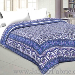 Double Bed Jaipur Razai (Quilt) Blue Pattern Camel  Mughal Print