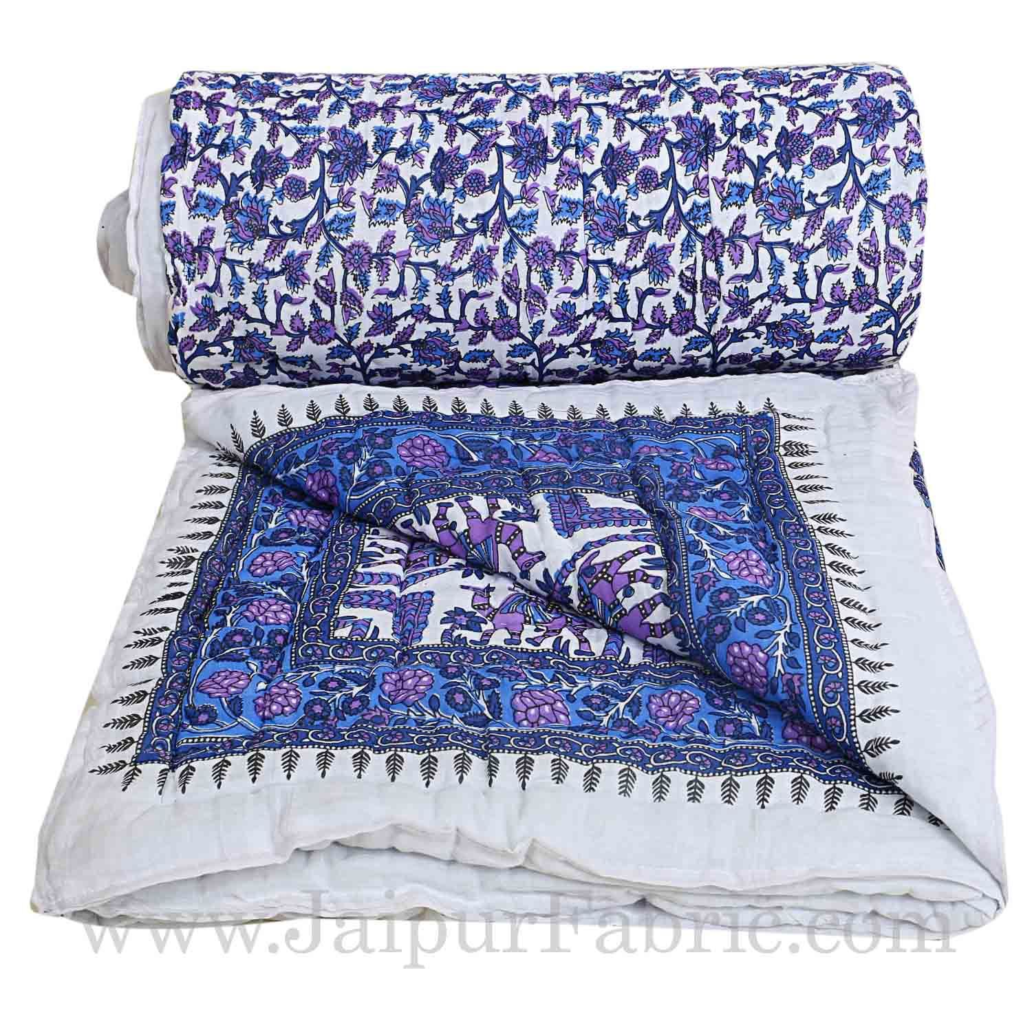 Double Bed Jaipur Razai (Quilt) Blue Pattern Camel  Mughal Print