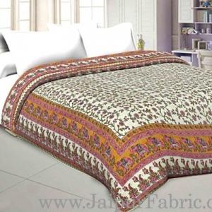 Jaipur Razai  Cream Base Elephant Design Mughal Print