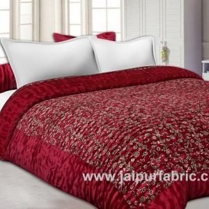 Jaipuri Double Bed Quilt Silk With Golden Print