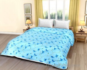 Turquoise Blue Floral Print Cotton Double Bed Size Dohar