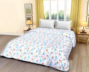 White Base Multi Colour Floral Print Cotton Double Bed Size Dohar