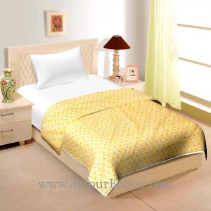 Cream Base With Orange floral Print Cotton Single  Bed Size Dohar