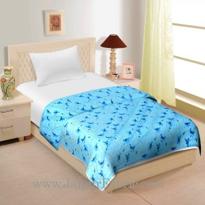 Turquoise Blue Floral Print Cotton Single Bed Size Dohar