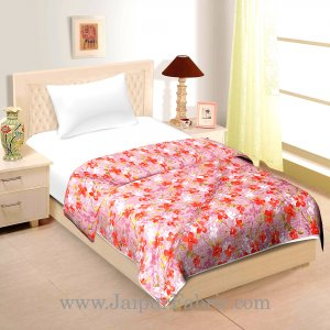 Pink Base With Orange Floral Single Bed Size Dohar