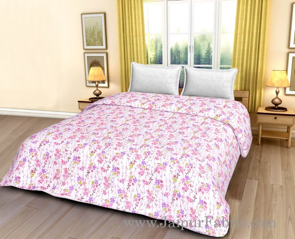 Cream Base Pink And Purple Floral Print Double Bed Dohar