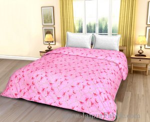 Pink Base Red Floral Print Double Bed Dohar