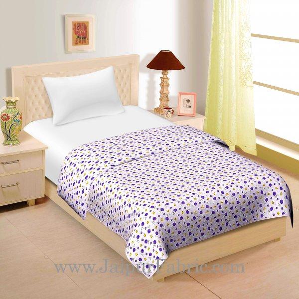 Cream Base Purple And Yellow floral Print  Single Cotton Dohar