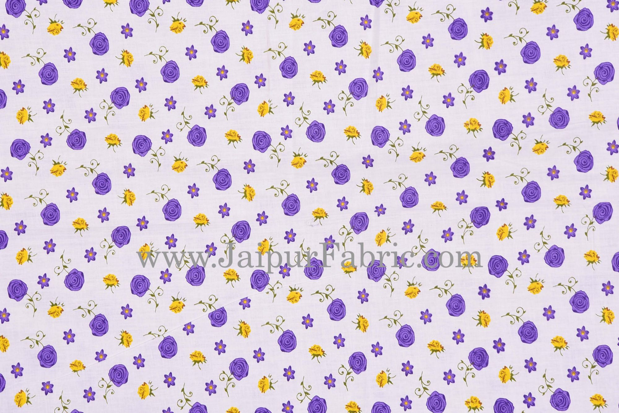 Cream Base Purple And Yellow floral Print  Single Cotton Dohar
