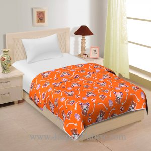 Orange Base Teddy Bear Print Single Cotton Dohar