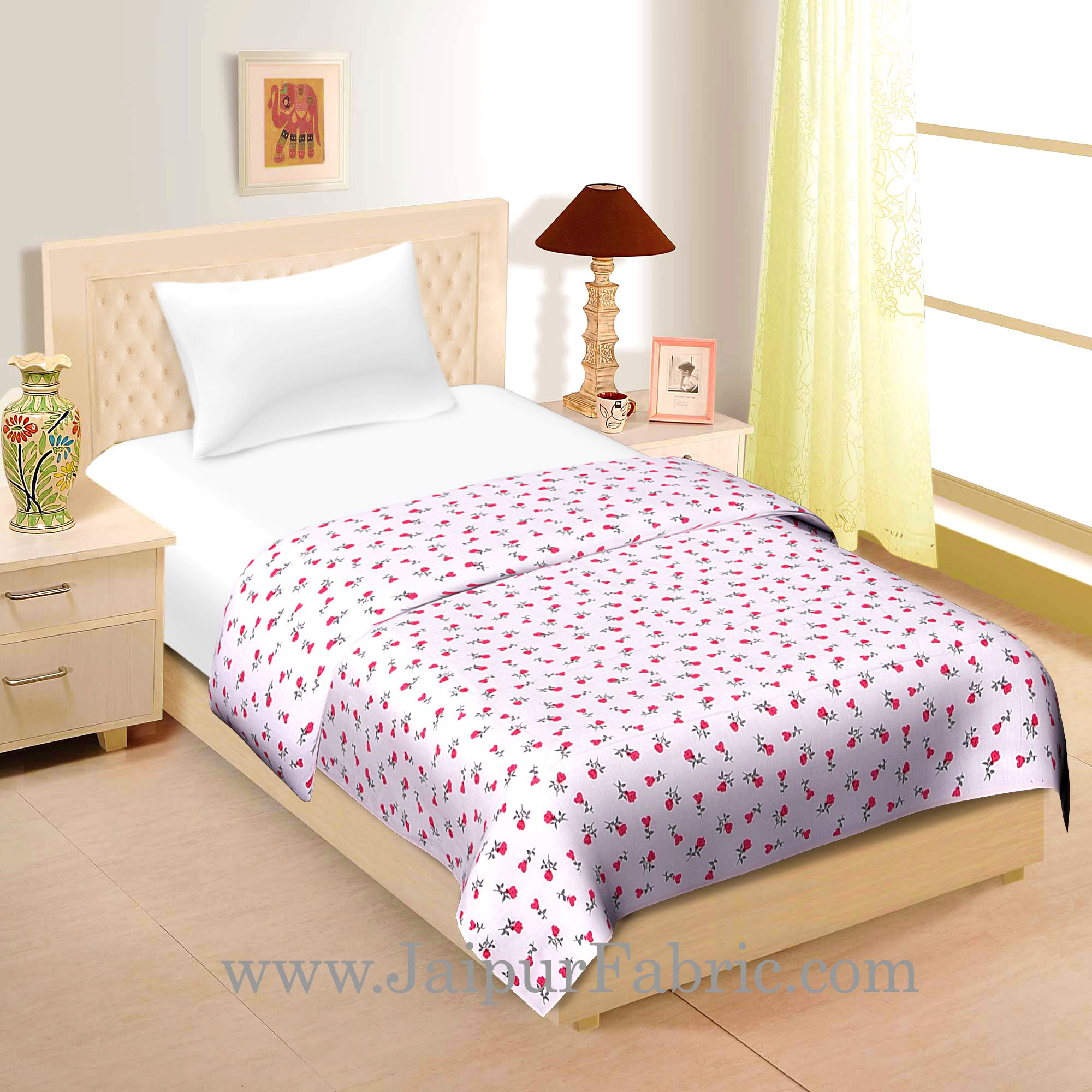 Cream Base Pink And grey  Floral Print Single Cotton Dohar