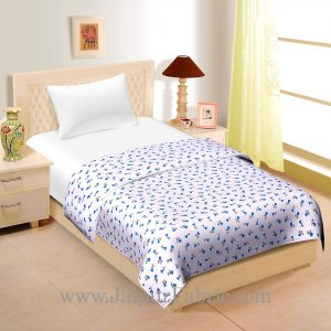 Cream Base Blue And Grey Floral Print Single Cotton Dohar