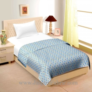 Light Blue  Base Multi  Tiny  Floral Print Single Cotton Dohar