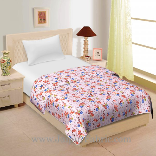 Cream Green Blue And Orange  Base Small floral Print Cotton Single