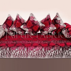 Pink Color Velvet Floral Design Diwan Set