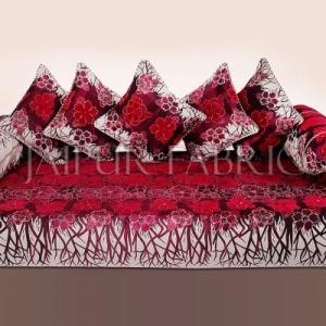 Pink Color Velvet Floral Design Diwan Set