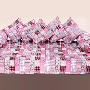 Pink Base Square Print Cotton Diwan Set