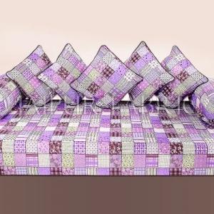 Purple Base Square Print Cotton Diwan Set
