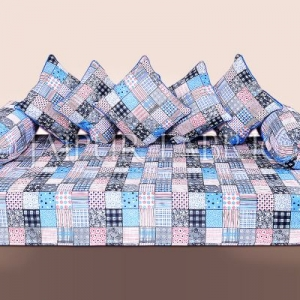 Blue Base Square Print Cotton Diwan Set