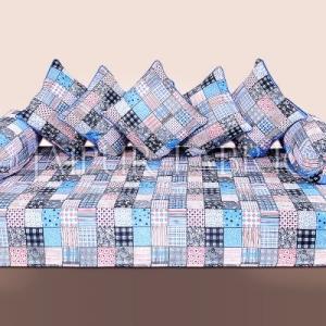 Blue Base Square Print Cotton Diwan Set
