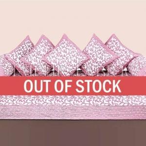 Pink Polka Dots Border and Leaf Print Cotton Diwan Set
