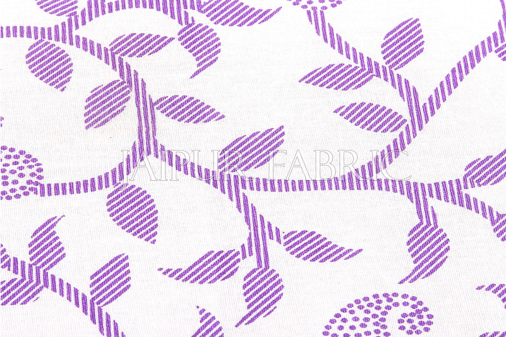 Purple Polka Dots Border and Leaf Print Cotton Diwan Set