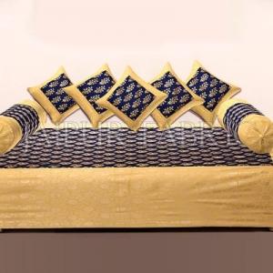 BLUE BASE PATCHWORK & GOLDEN FLORAL PRINTED  DIWAN SET