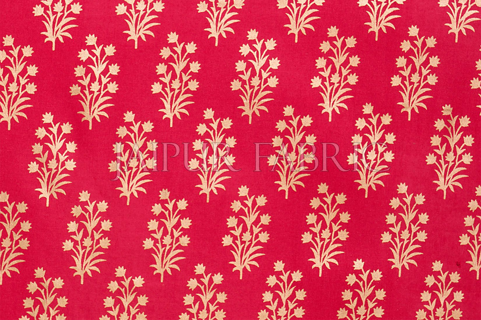 RED BASE PATCHWORK & GOLDEN FLORAL PRINTED  DIWAN SET