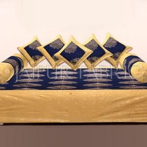 BLUE BASE PATCHWORK & GOLDEN LEAF PRINTED DIWAN SET