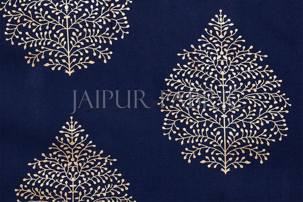 BLUE BASE PATCHWORK & GOLDEN LEAF PRINTED DIWAN SET