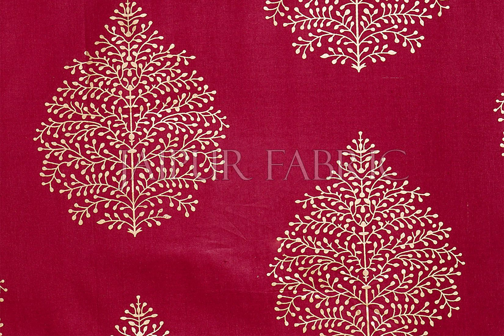 RED BASE PATCHWORK & GOLDEN LEAF PRINTED DIWAN SET