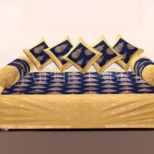 BLUE BASE PATCHWORK & GOLDEN KALASH PRINTED DIWAN SET