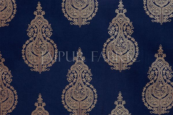 BLUE BASE PATCHWORK & GOLDEN KALASH PRINTED DIWAN SET