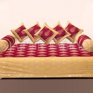 RED BASE PATCHWORK & GOLDEN KALASH PRINTED DIWAN SET