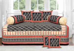 Black Red floral paisley diwan set
