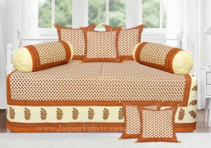 Orange Border Cream Base Small Tree Pattern With Golden Print  Diwan Set