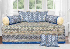 Blue Base Cream Flower With Golden Print  Diwan Set