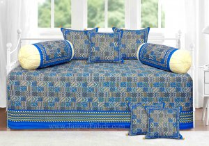 Blue Border Small Designer Checks Gold Print Diwan Set