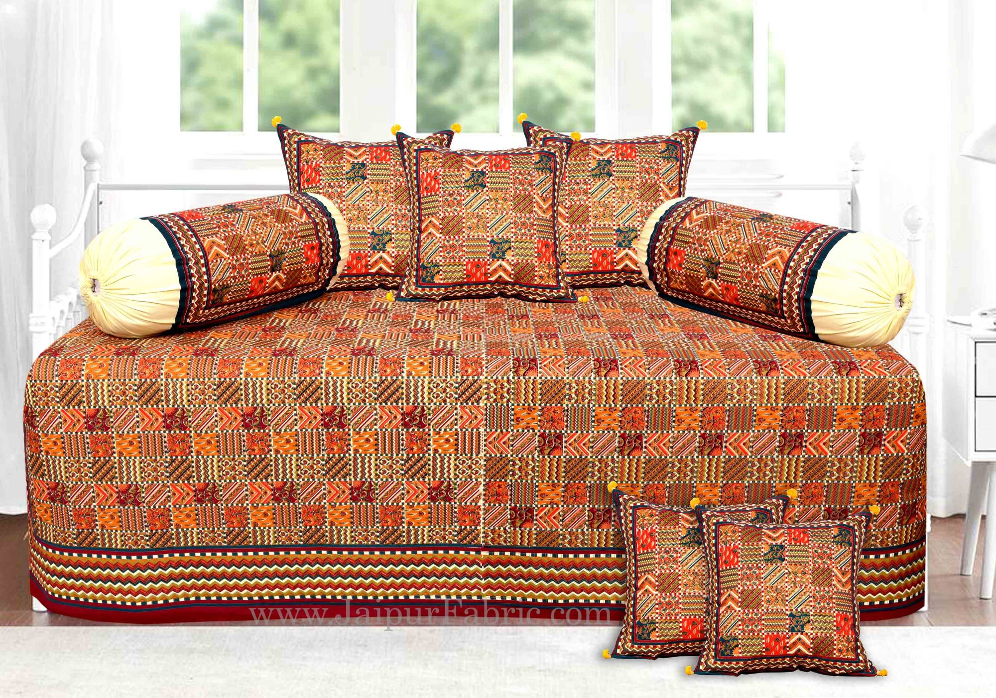 Red And Grey Border Small Designer Checks Gold Print Diwan Set