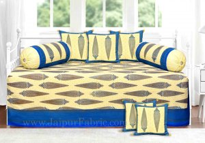 Blue Border Paisley Gold Print Diwan Set