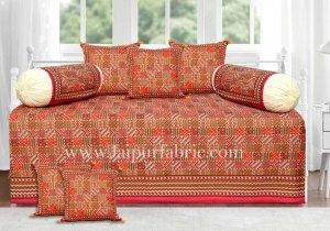 Red border small designer checks gold print diwan set
