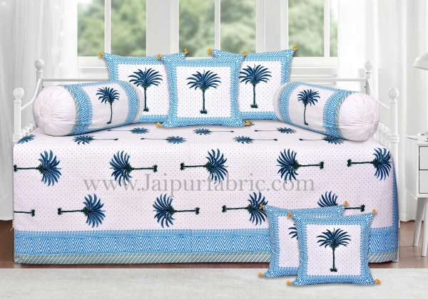 Sky blue palm polka mercerised cotton diwan set