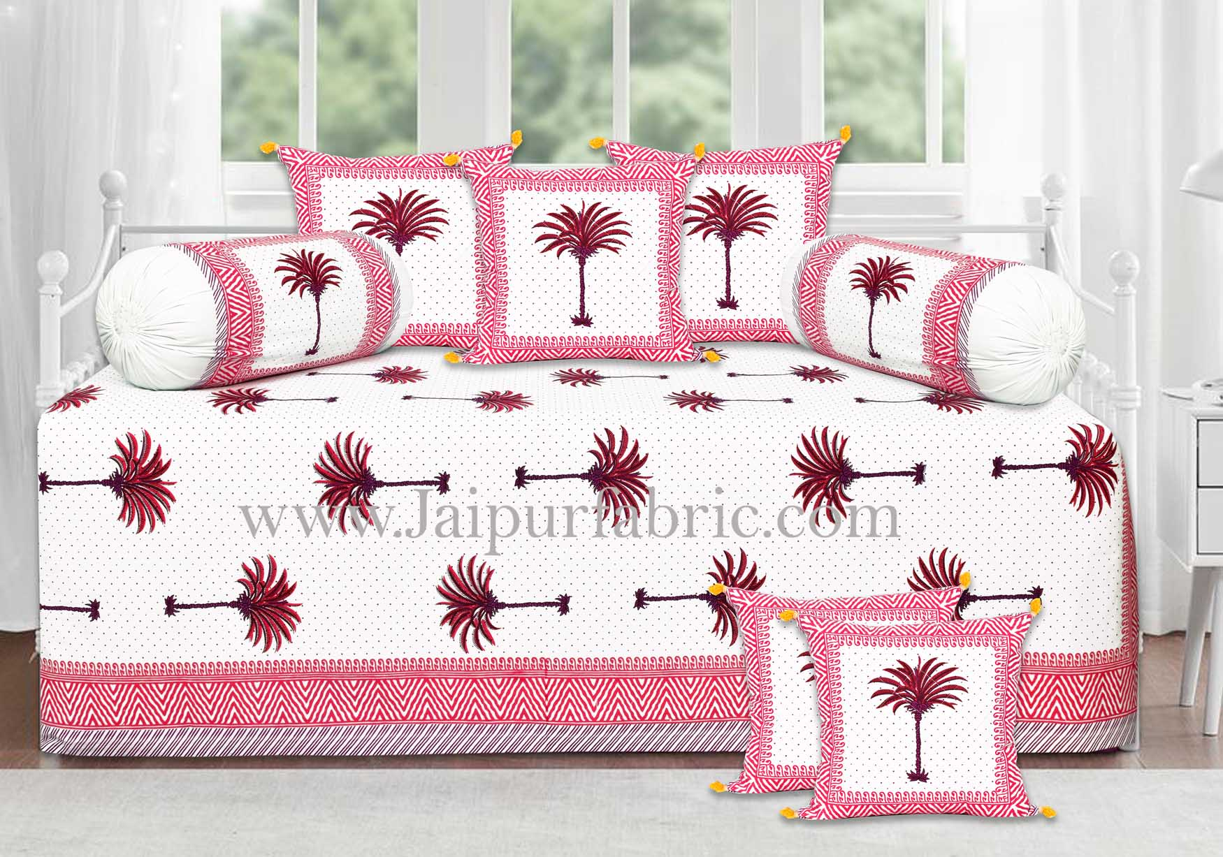 Dark pink palm polka mercerised cotton diwan set