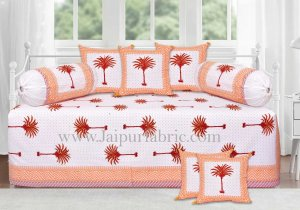 Orange palm polka mercerised cotton diwan set