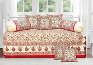 Ethnic gold red gold floral diwan set
